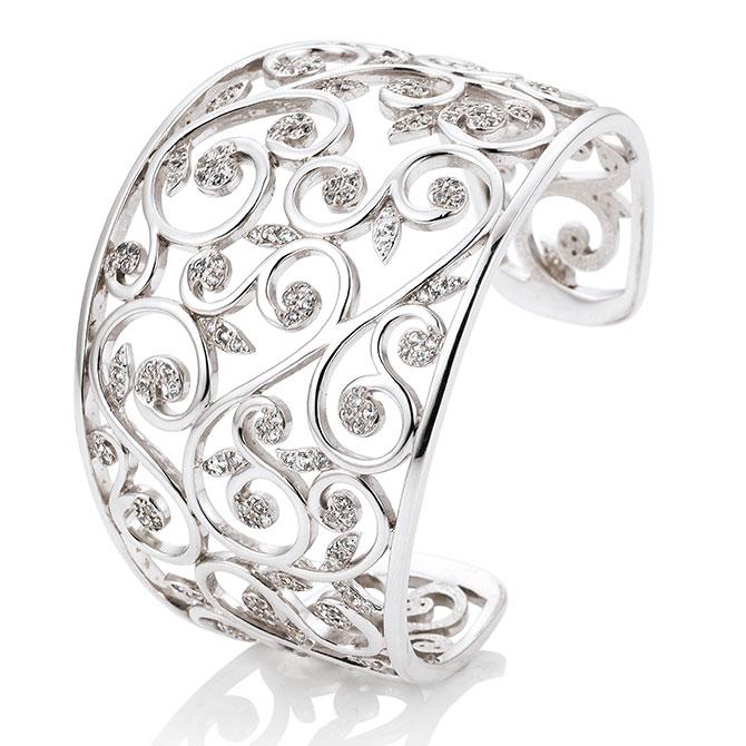 Bracelete em prata com safiras brancas