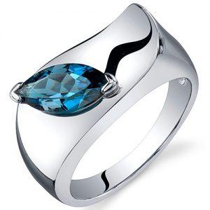 Anel em prata com Topázio azul