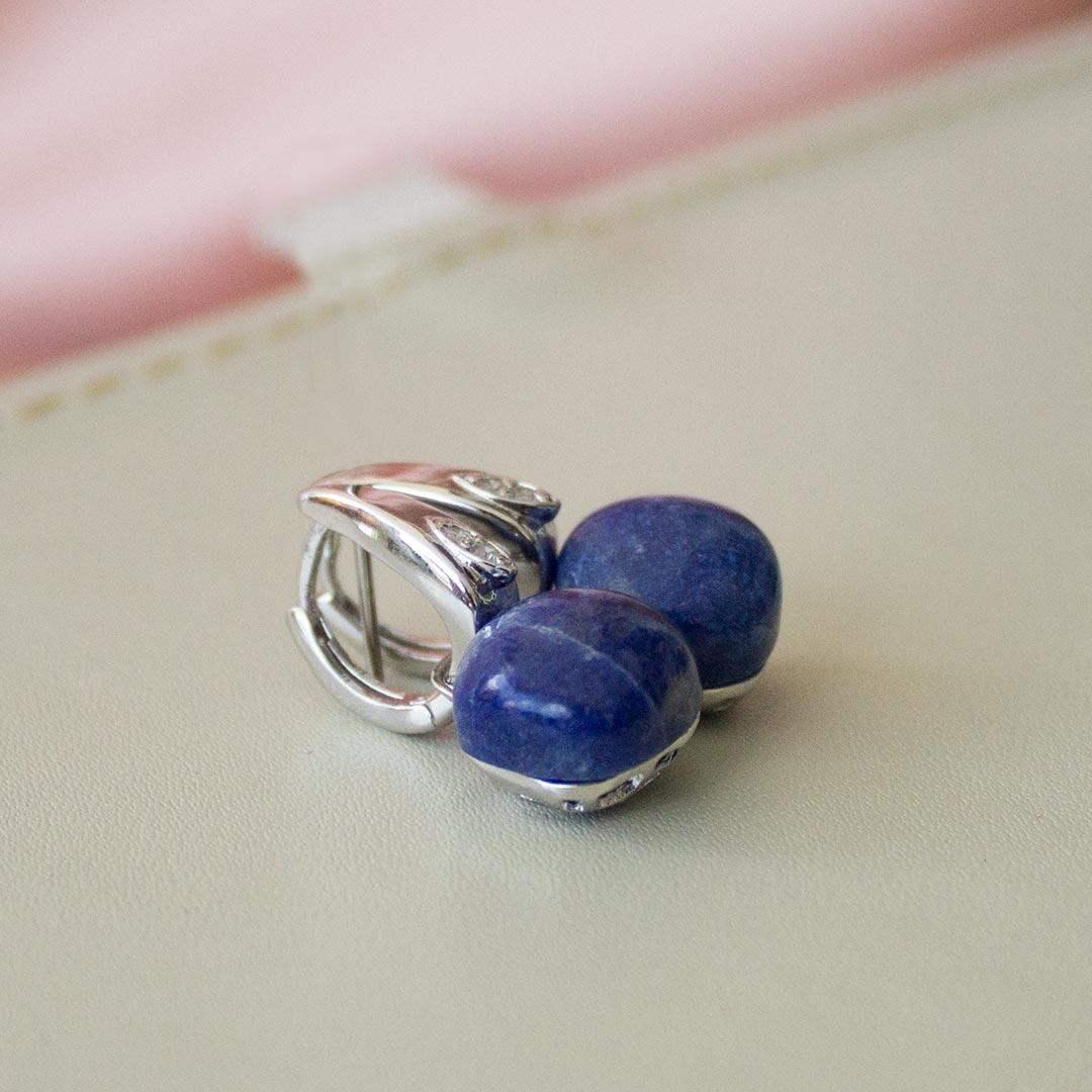 Brincos MOODS em Prata 925 com Lápis Lazuli
