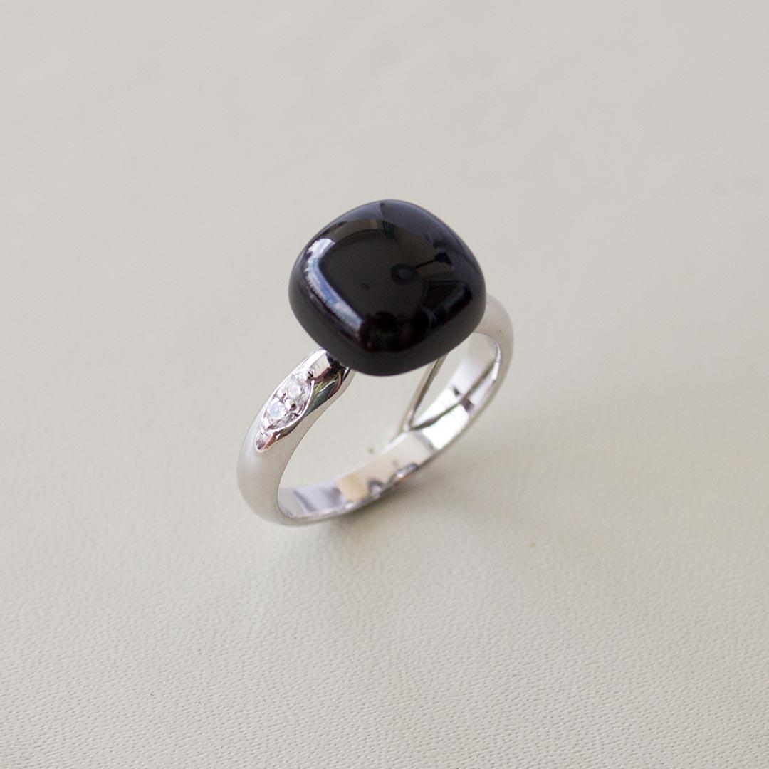 Moods Collection - Anel Prata 925 com Turmalina negra